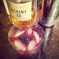 Hibiki Whisky with Blackberry Shrub